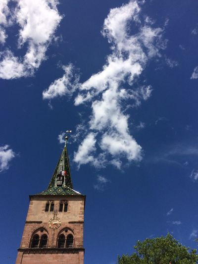 2017 Cloud - Sky Religion Sky Low Angle View Architecture Tree No People Clock Tower Blue Sky Eglise Sainte Anne Alsace