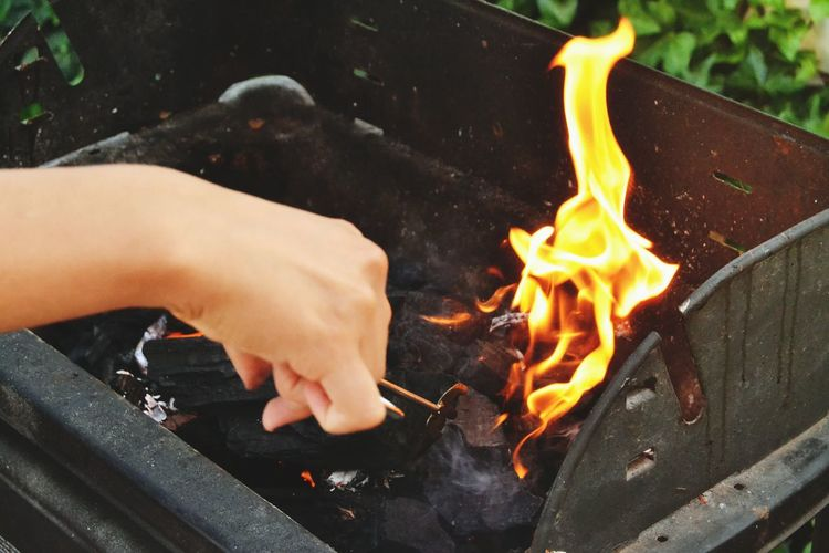 Cropped Hand By Burning Coal In Barbecue