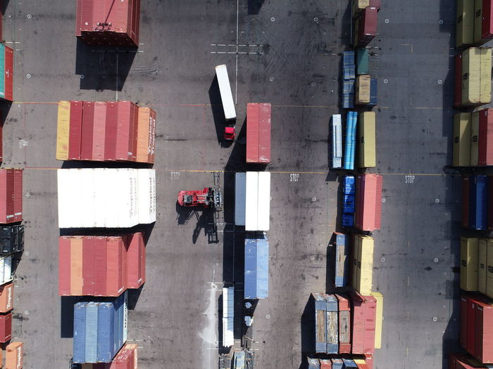 Directly above shot of cargo containers at dock