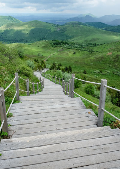 Day No People Green Color Scenics Cloud - Sky Beauty In Nature Lush Foliage Outdoors Volcano France Puy De Dôme Beauty Landscape Steps Stairs Staircase Path