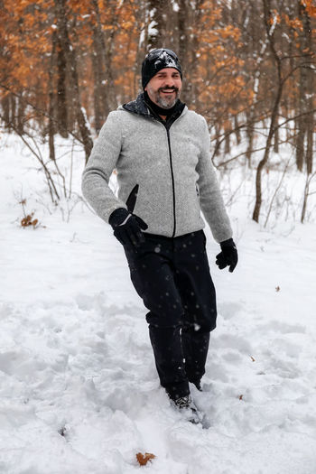 Man standing on snow covered land
