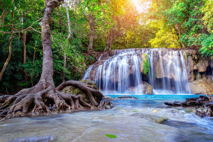 Erawan waterfall in Thailand. Beautiful waterfall with emerald pool in nature. Water Beauty In Nature Scenics - Nature Waterfall Motion Nature Rock Land Tree Outdoors Plant Long Exposure Flowing Water Flowing Forest Environment No People River Tranquility Rainforest Stream - Flowing Water WoodLand Falling Water Power In Nature Tropical Rainforest