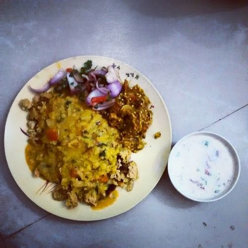 Daal Baati Raita Bharta Salad HumBhiRajasthani Food Orgasm Lunch yyyuuummmm!!!