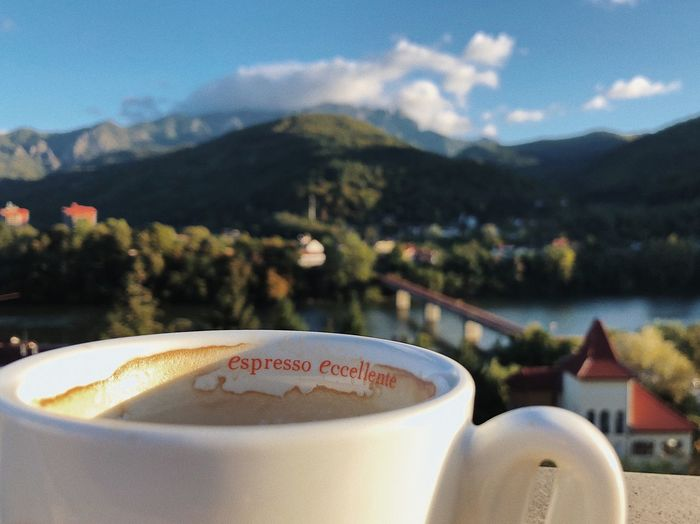 Morning cup ☕️... Mountain Leisure Activity Relaxation Ceremony Ceramic Cup Drink Morning Coffee Background Cafea Esspresso Cafe Coffeine Morning Breakfast Travel Drink Food And Drink Refreshment Cup Mountain Coffee Focus On Foreground Coffee - Drink Coffee Cup Nature Cloud - Sky Freshness Mountain Range Still Life Mug