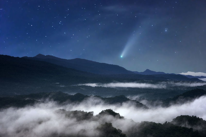 The sea of mist at night in the forest in the sky with meteors.