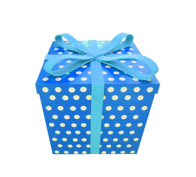 Blue Bow Box Box - Container Close-up Cut Out Gift Gift Box Indoors  No People Pattern Polka Dot Purple Ribbon Ribbon - Sewing Item Single Object Spotted Still Life Studio Shot Surprise Tied Bow White Background Wrapping Paper