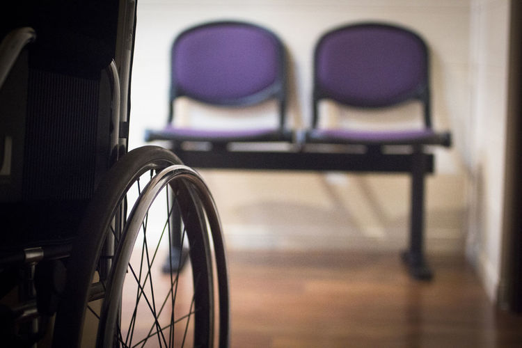 Close-up of wheelchair in hospital
