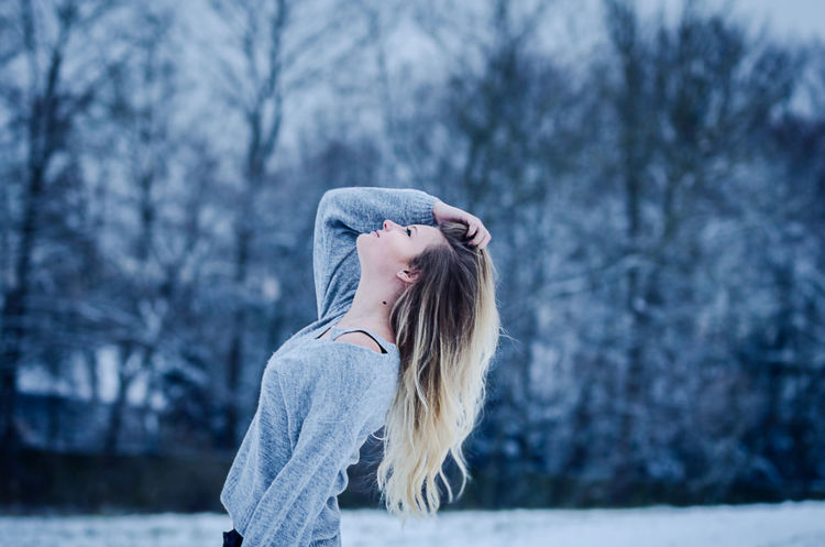 Ice Snow ❄ Bare Tree Beautiful Woman Cold Temperature Day Focus On Foreground Ice Queen Leisure Activity Lifestyles Long Hair Nature One Person Outdoors Real People Sky Snow Snow Queen Snowing Water Winter Young Adult Young Women