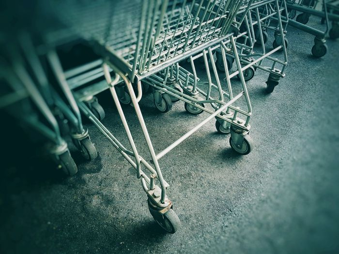 Super Market Trolley Supermarket Equipment Store Stanless Steel Iron Basketball Trolley Trolley Service Wheel SUPER Market High Angle View Abandoned Close-up Cart