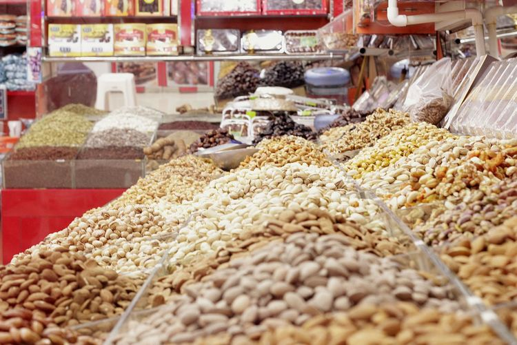 Various nuts for sale in store