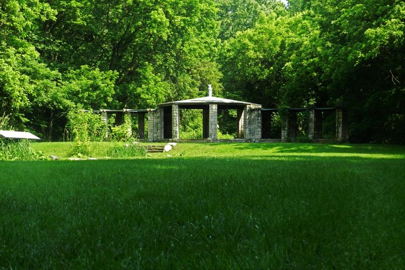 Stone Gazebo Beauty In Nature Day Dearborn Field Gazebo Grass Grassy Green Growth Henry Ford Estate Idyllic Landscape Lawn Lush Foliage Michigan Nature No People Outdoors The Architect - 2016 EyeEm Awards Scenics Stone Structure Stones Tranquil Scene Tranquility Tree