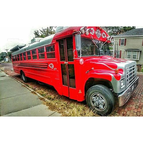 Panoramic KC Chiefs tailgate and party bus.....sits in town on 4th... Ks_pride Atchison Kansascitychiefs Football Footballgame Panoramic Party Partybus Chiefskingdom