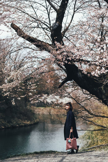Woman Standing Under Cherry Blossom Tree By River