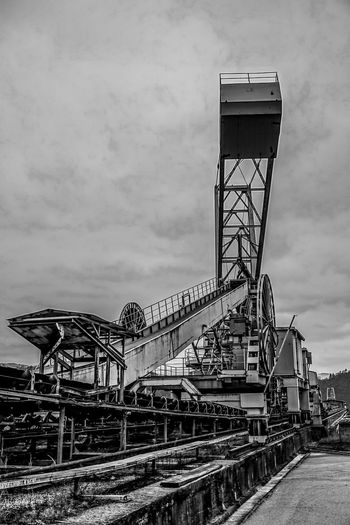 Architecture Big Machines Black And White Built Structure Cloud - Sky Day Europe Giant Machine History Industrial Industry Iron Man Made Structure Metal Construction No People Outdoors Sky Slovenia Trbovlje Workers Area