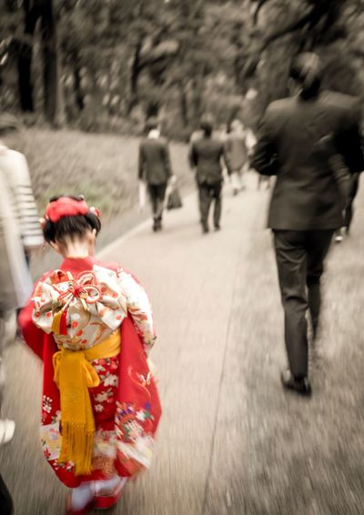 Real People Rear View Walking Outdoors Childhood One Person Day Child Shrines & Temples Shrine Of Japan Girl