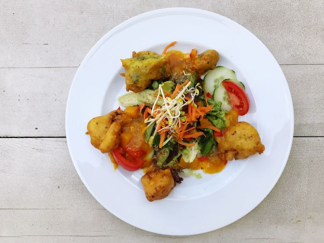 Fried Vegetable Fried Vegetables Lunch Food Vegetarian Food Salad Chutney Plate Food And Drink Ready-to-eat Serving Size Table No People Freshness Healthy Eating Indoors  Close-up Day