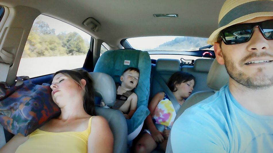 Hanging Out Car Ride  Passed Out Family Baby Selfie Is This Naughty?