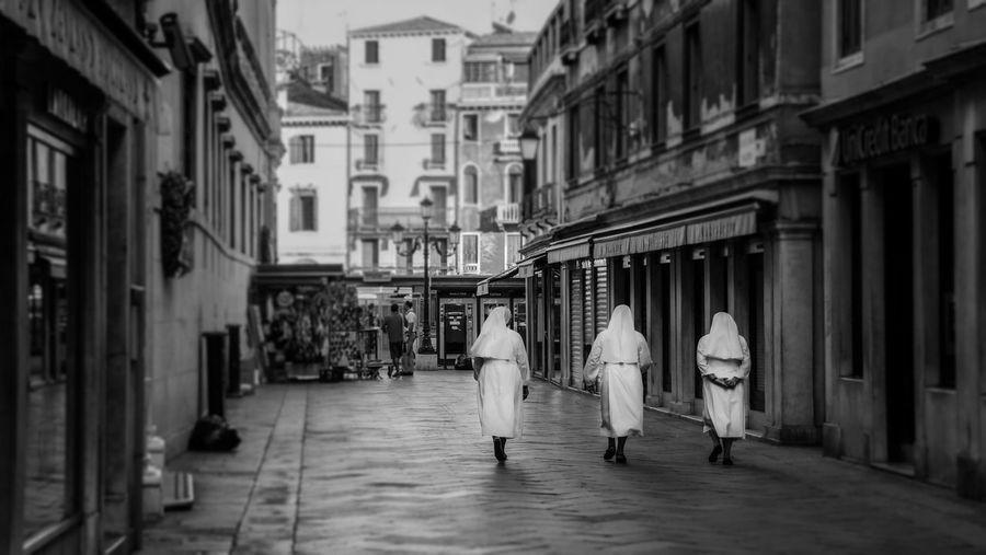 Nuns in Venice Nuns Venice Black And White Black & White