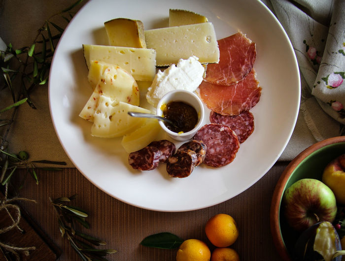 Ham Salami Slices Aperitif Antipasto Appetizers Italian Cheese Cheese Prosciutto Crudo Italian Food SLICE Plate Close-up Food And Drink Served