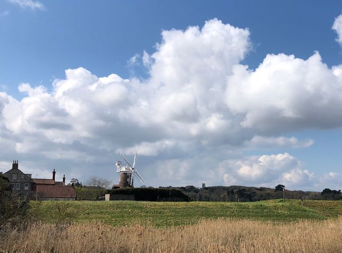 Cley windmill in spring sunshine Cley Windmill EyeEm Nature Lover Eyem Best Shots Nature_collection Copy Space Cloud - Sky Sky Land Nature Built Structure Field Day No People Landscape Beauty In Nature