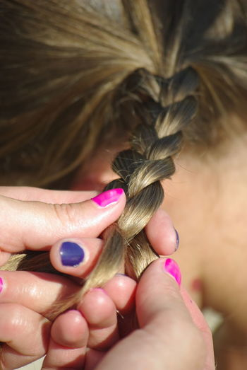 Pigitails Braided Hair Close-up Day Fashion Human Body Part Human Hair Human Hand Indoors  Lifestyles Nail Polish One Person Plait Plaited Hair Real People Women