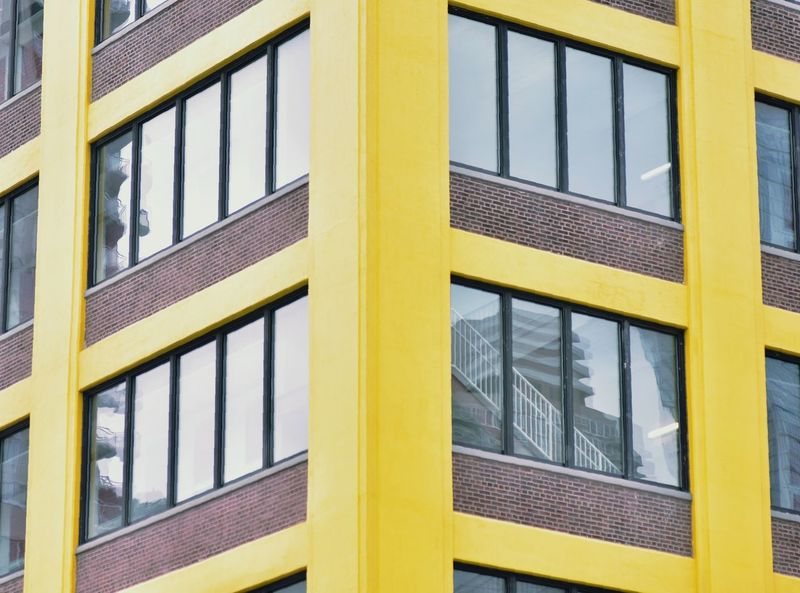 Walk with me thru a yellow NYC Paint The Town Yellow EyeEm Selects Yellow Window Full Frame No People Day Architecture Backgrounds Outdoors Building Exterior Close-up Reflection