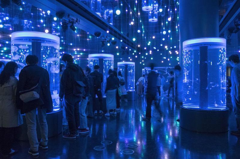 Abundance City City Life Crowd Group Of People Human Meets Old Technology Illuminated LED Led Lights  Leisure Activity Lifestyles Lights Market Stall Night Nightlife Retail