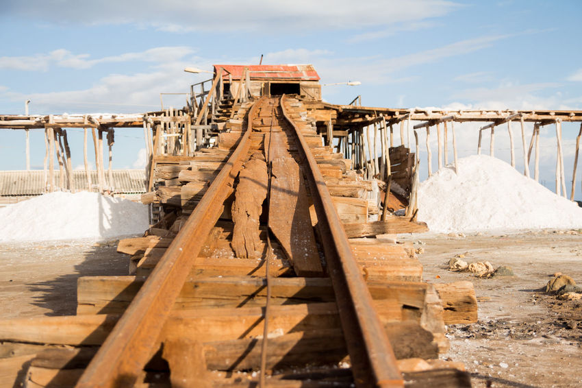 Bani Dominican Republic Railroad Track Day Nature No People Outdoors Playa Salinas Produccion Sal Salt Production Sky Structure Sunlight Wood - Material