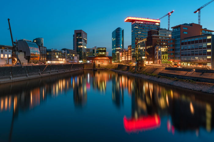 8749x5833 (51 MP) panorama Cityscape Düsseldorf Architecture Blue Building Building Exterior Built Structure City Crane - Construction Machinery Illuminated Innside Medienhafen Medienhafen Düsseldorf Night No People Office Building Exterior Outdoors Reflection Water Waterfront