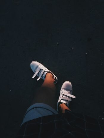 Shoe Black Background Canvas Shoe One Person Men Feet Lights In Feet White Shoes Outdoors