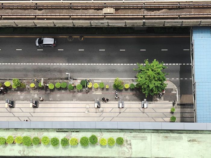 High angle view of road in city