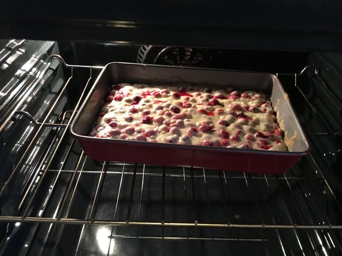 Cranberry cake! Cake Baking In The Oven Fresh Baked Sweets Bakery Food And Drink Preparation  Food Indoors  Sweet Food Baking Sheet Freshness