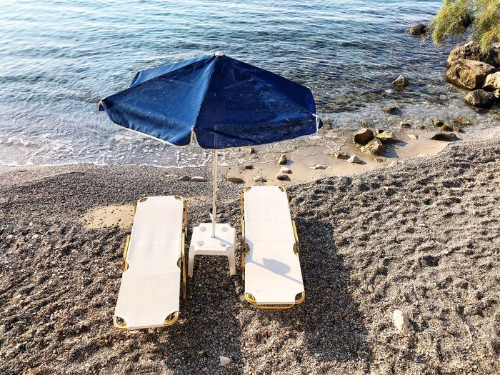 Sea Sandy Beach Sunbed Water Wet Nature Beach Land Day Sand High Angle View No People Outdoors Sea Protection Umbrella Sunlight
