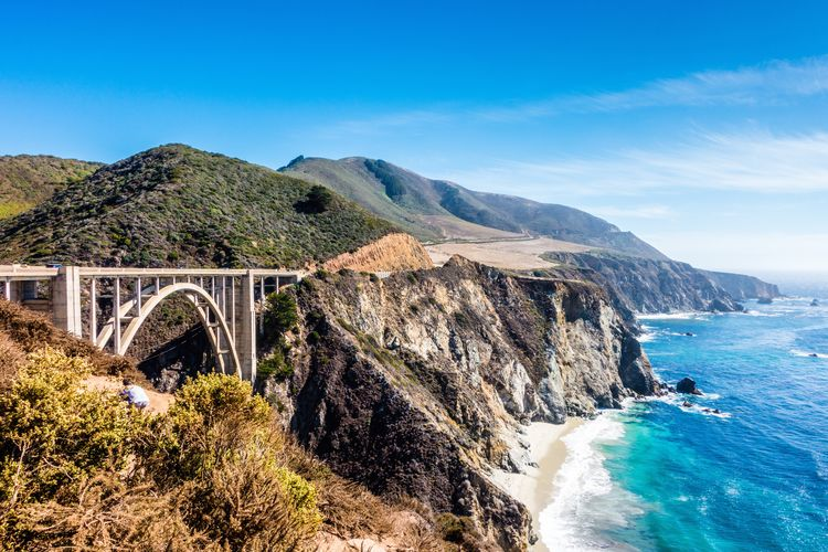 Route 1 Pacific Coast Highway Water Bridge Sky Bridge - Man Made Structure Scenics - Nature Mountain Beauty In Nature Sea Connection Nature Arch Architecture Built Structure No People Transportation Day Land Arch Bridge Motion Outdoors Bixby Creek Bridge