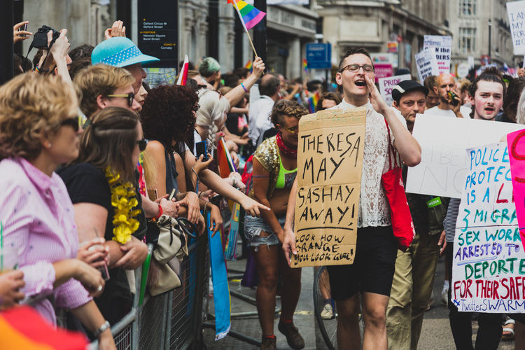 At London Pride 2017, protestors successfully held up the parade and marched in front of the parade in protest of the corporate sponsors. Sponsors of the event were accused of not supporting their LGBTQ+ workers as well as contributing to LGBTQ+ oppression around the globe. #NotYourCliche London Love Protest Crowd Day Equality Group Of People Lgbt Lgbt Pride Lgbtq Loveislove Mar Pride Protest Protestor Real People The Photojournalist - 2018 EyeEm Awards Love Is Love Love Is Love The Troublemakers