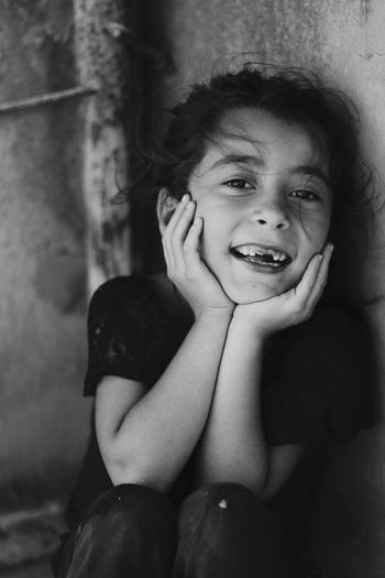 SMİLE 🤗 B&w Blackandwhite S&B Siyahbeyaz Child Childhood Portrait Girls Looking At Camera Smiling Human Face Close-up