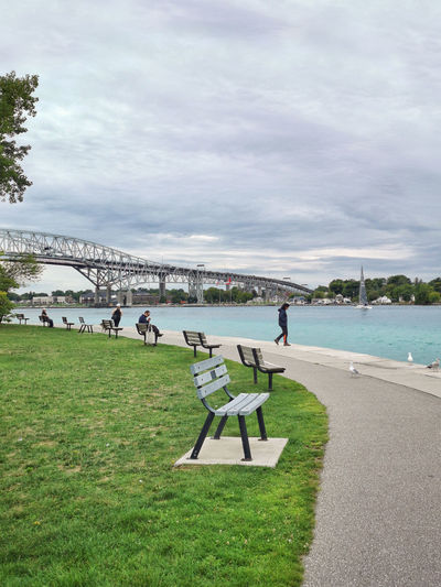 Blue water bridge on boarder between canada and usa. famous landmark in america. st. clair river