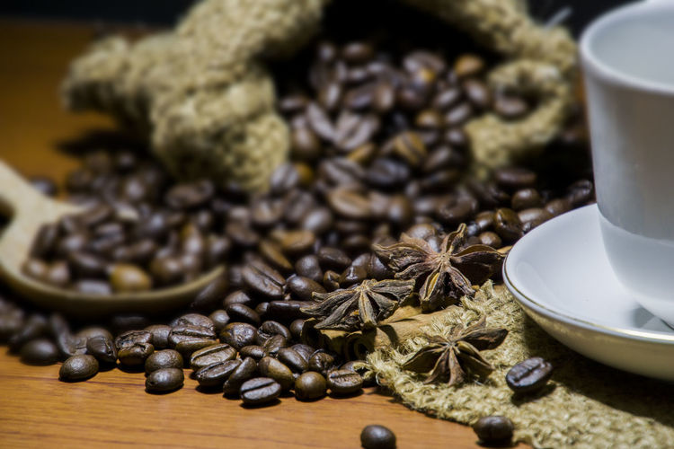 Black Peppercorn Close-up Coffee Bean Day Food Food And Drink Freshness Healthy Eating Indoors  Ingredient Large Group Of Objects No People Preparation  Spice Star Anise Table