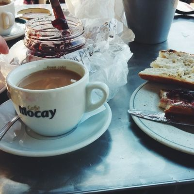 62/365 | I never would have thought that day 2 of ElCaminoDeSantiago would actually be more physically and mentally straining than the first. It's a good thing we get to start the day with cafe con leche and Therése's cherry jam. Travel 365grateful
