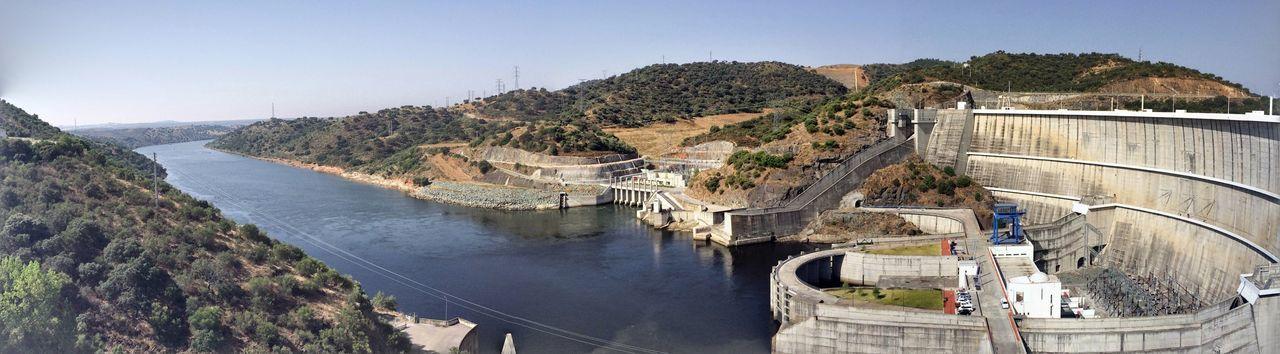 High angle view of alqueva dam