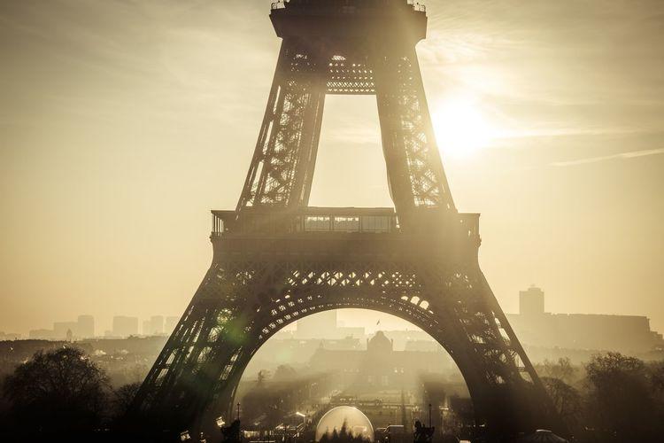 Eiffel Tower France Landmarks Paris Architecture Built Structure City History Sky Sunset Tourism Travel