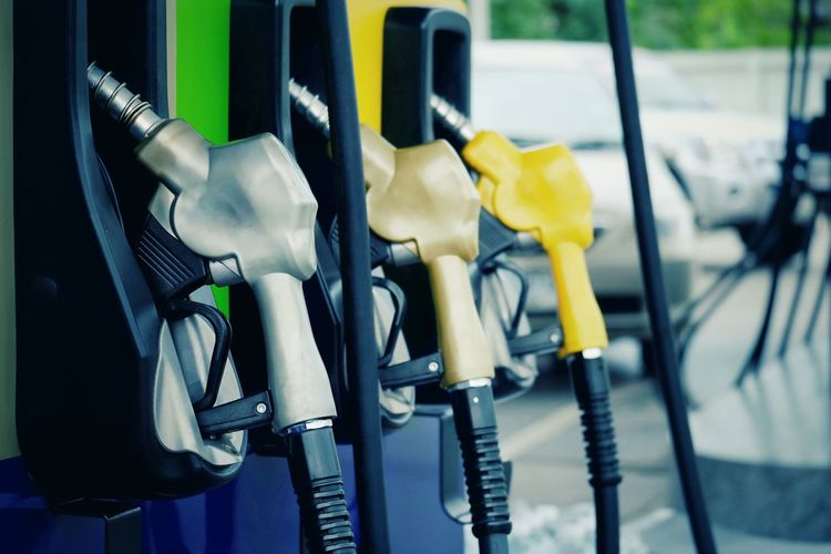 Close-up of fuel pumps at gas station