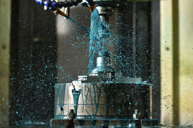 Water drops on glass of machine