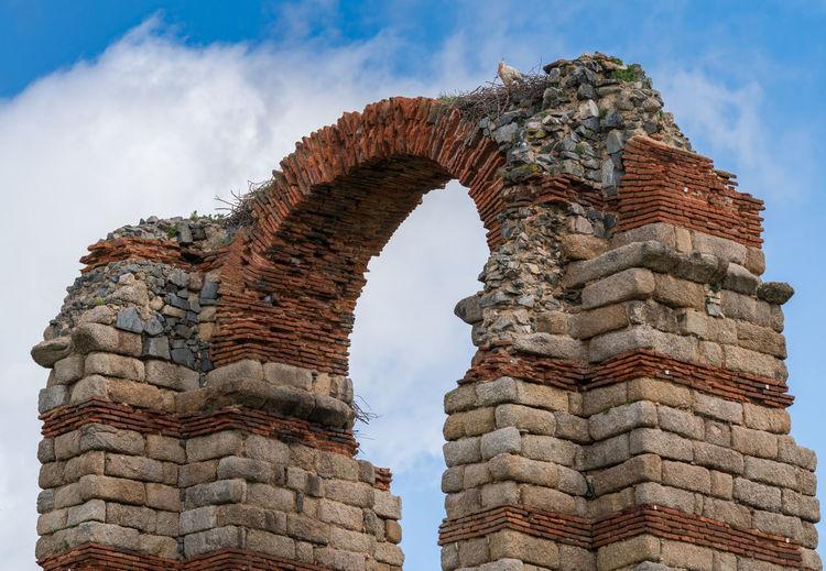 Details of the roman aqueduct, called los milagros, in mérida. estremadura. spain
