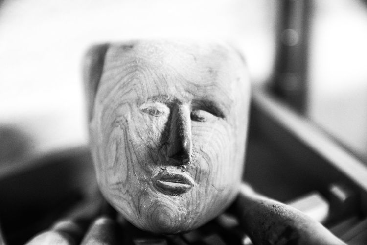 Black & White Black And White Close-up Craftsmanship  Face Indoors  No People Sculpture Wood Wooden Face Wooden Head