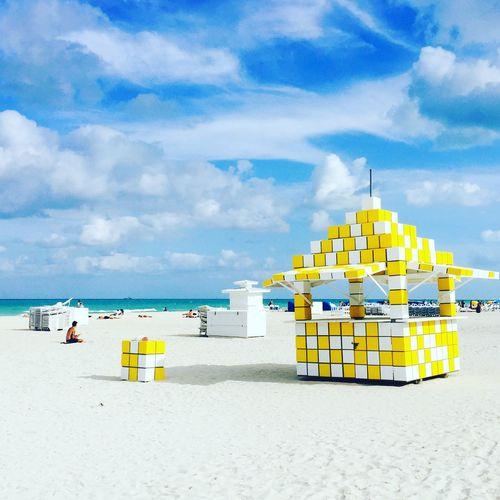 Beach Sand Sky Sea Cloud - Sky Shore Tranquility Miami Beach Florida Beachlife Beach Sky Blue Clouds