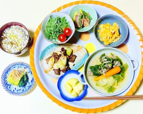 Food Plate High Angle View Japanese Food
