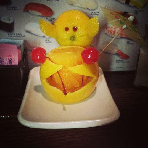 Kobe sushi chef is AMAZING! Wondeful sushi and cute fruit!! Datenight Sushi CuteFruit Kobe LittleRock