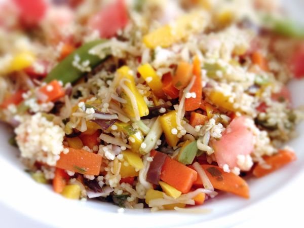 colorful mixed vegetables with sorghum Close-up Food Meal Paprika Ready-to-eat Sorghum Sprouts Tomatoes Vegan Food Vegetables Vegetarian Food