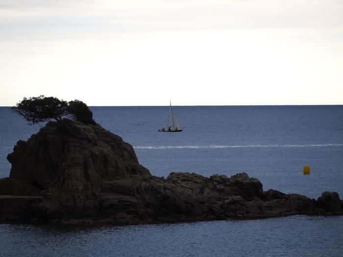 Sailboat on rock by sea against sky